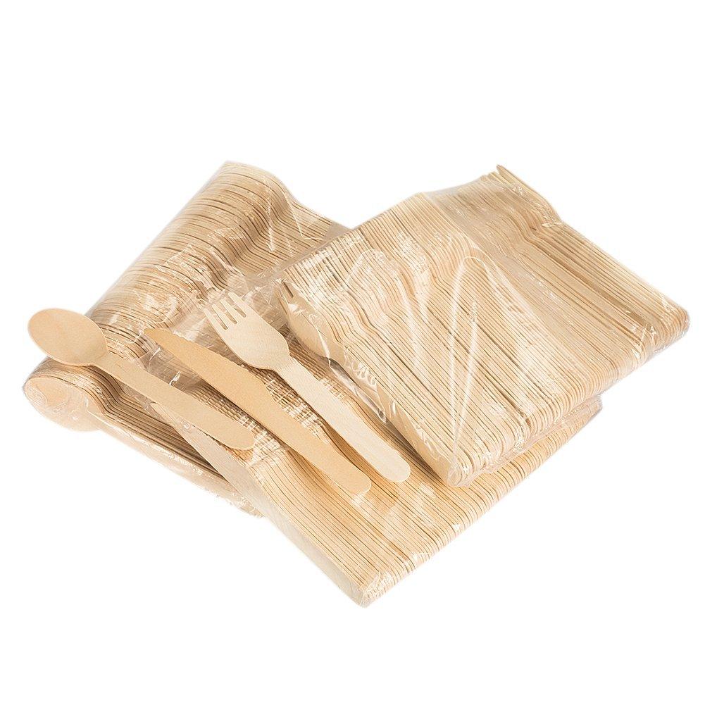 6.5ich Disposable Wooden Utensils,Natural Wooden Cutlery Picnic Utensil Set