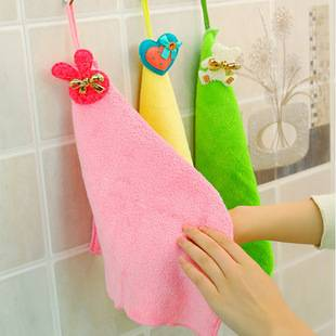 Candy color hanging coral fleece rag towel