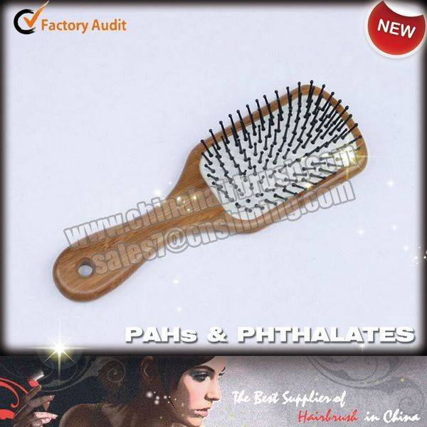 Wooden Hair Brush with Nylon Pins
