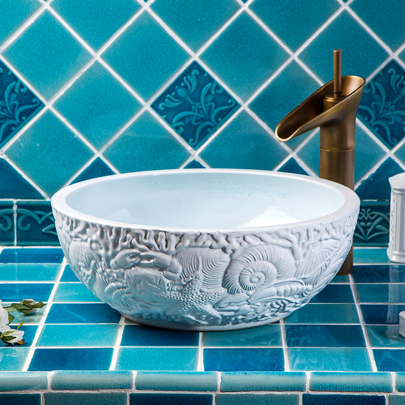 Handmade European Style High-end Without Faucet Washstand Kitchen Ceramic Wash Basin Sinks
