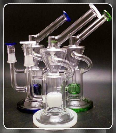 Colored Glass Recycler Oil rig glass bongs water pipes with 14.5mm dome and nail ..