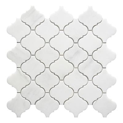 Italy white lantern shape water jet marble mosaic tile