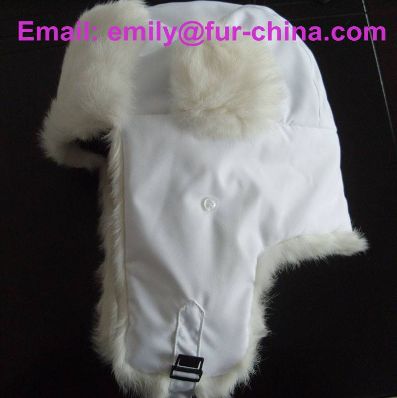 White Color Russian Style Rabbit Fur Hat