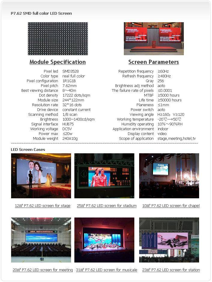 Selling Indoor P7.62 SMD 1R1G1B LED screen