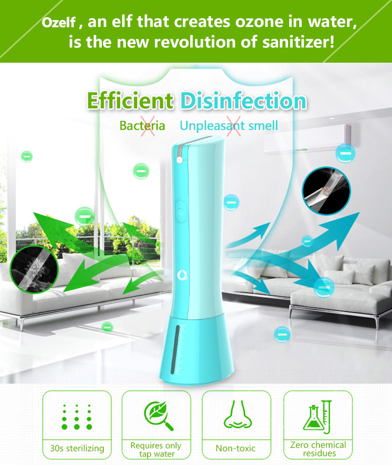 Safe and enviromentally ozone generator ozone water sanitizer without residue