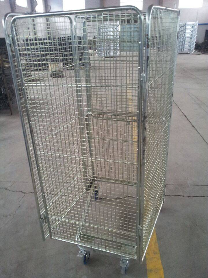 Hot product supermarket roll cages/Storage cage cart/Steel wire mesh containers
