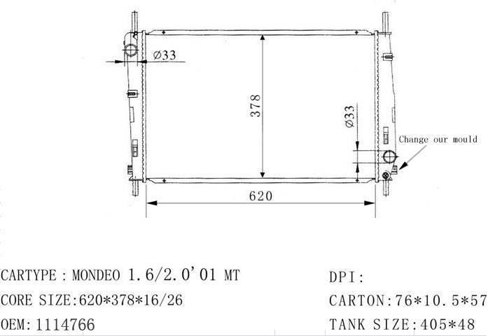 ford radiator: 1114766