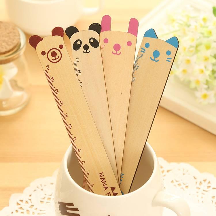 Cute cartoon animal shaped wooden ruler