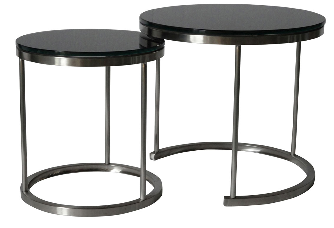 SHIMING Furniture MS-3344 Black tempered glass top side coffee table with stainless steel frame