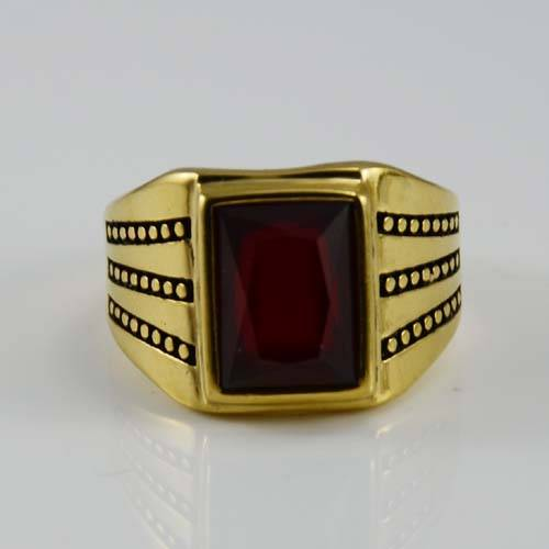 Plated gold Stainless Steel red stone ring for wholesale