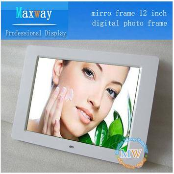 Set time on/off and motion sensor 12 inch digital photo frame for advertising