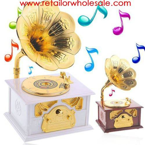 Wholesale Brand New Nostalgic Phonograph Style Mechanical Disc Turntable Trumpet Music Box Color Ran