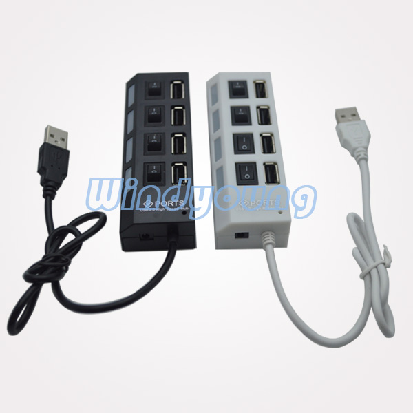4 Ports USB Hub 2.0 with Switches
