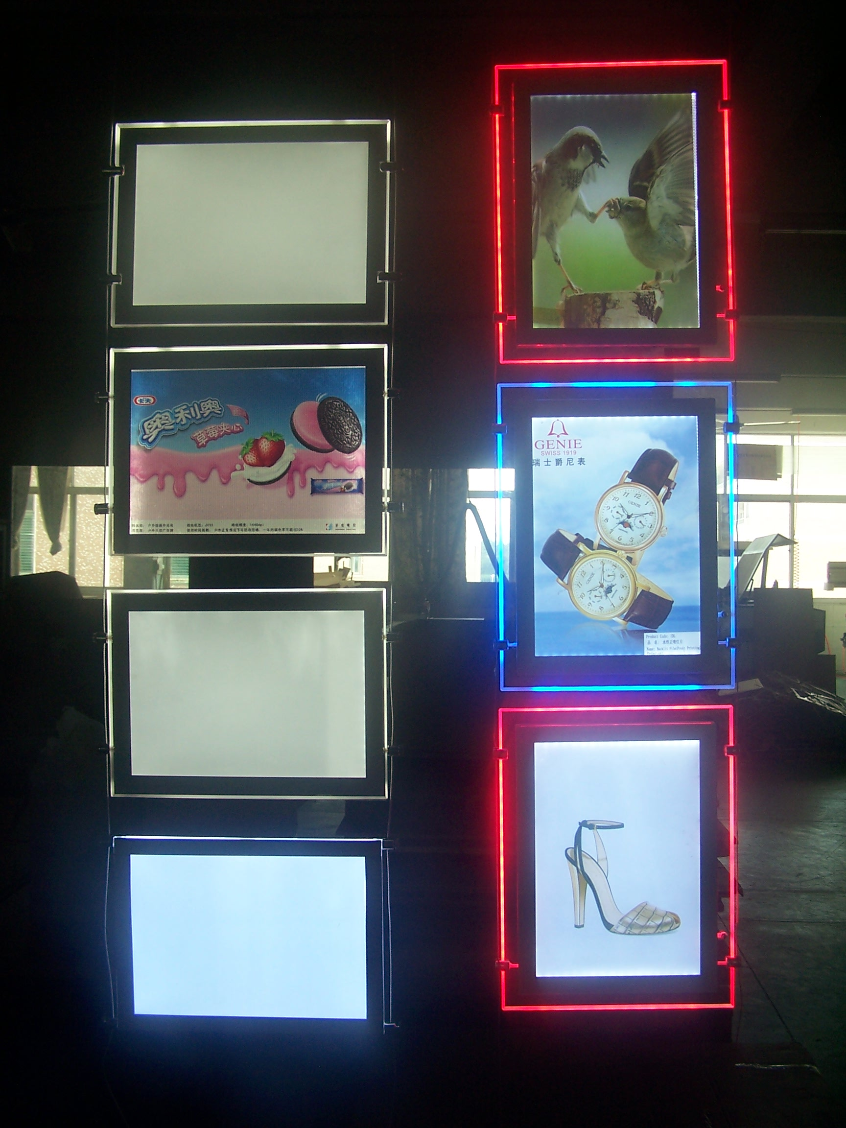 Colour changing light box for window display