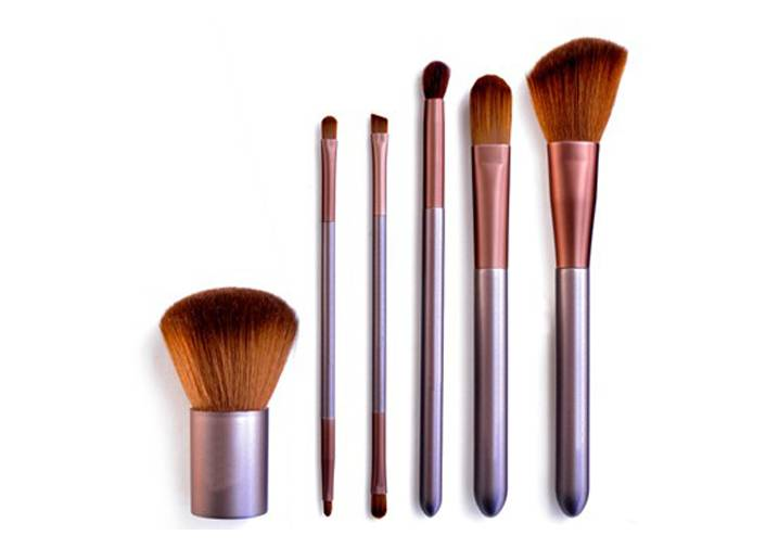 6pieces Bronzer Makeup Brush With Synthetic Hair Wooden Handle Metal Ferrule