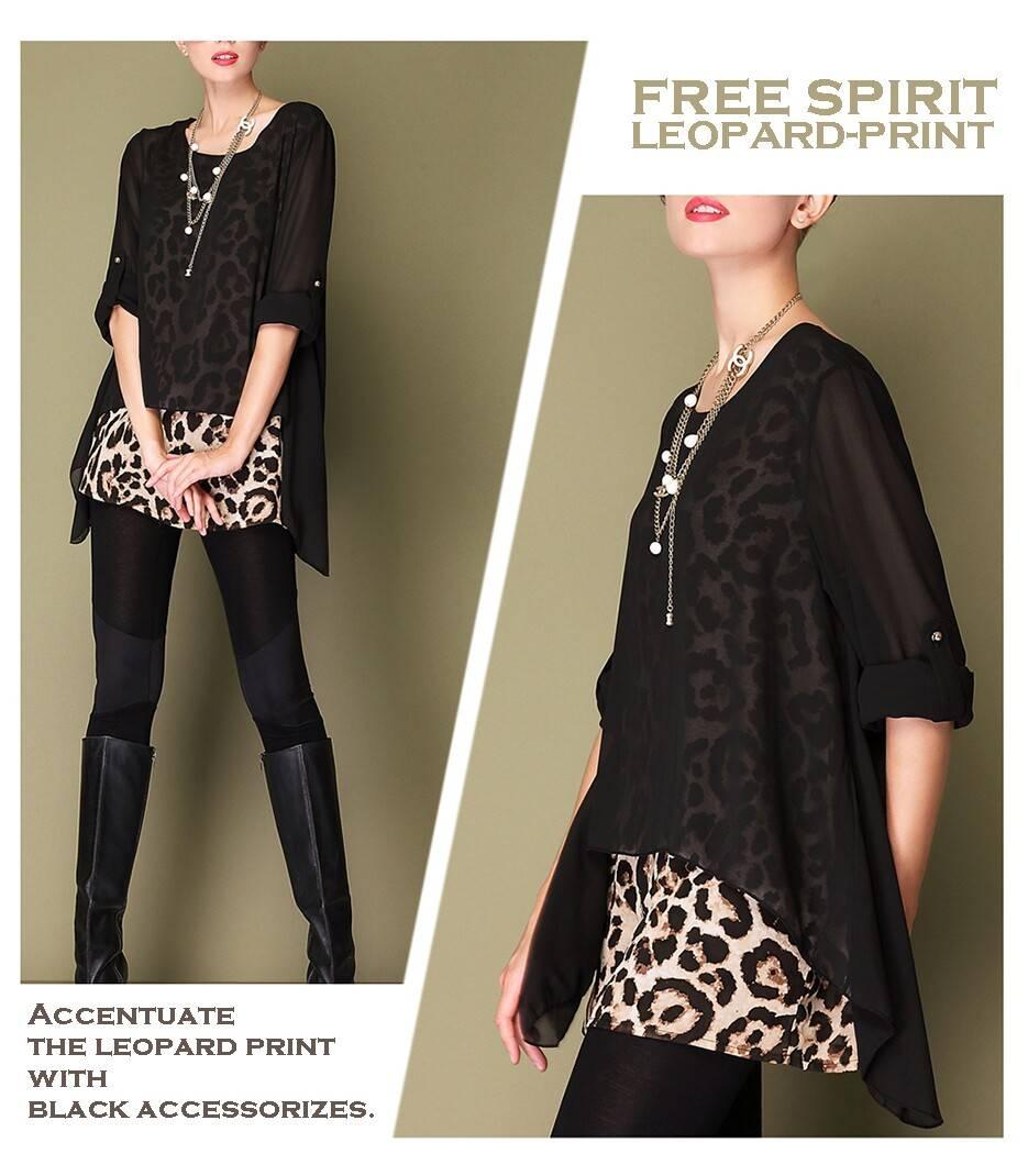 Plus-size leopard point splicing chiffon fashion women's clothing