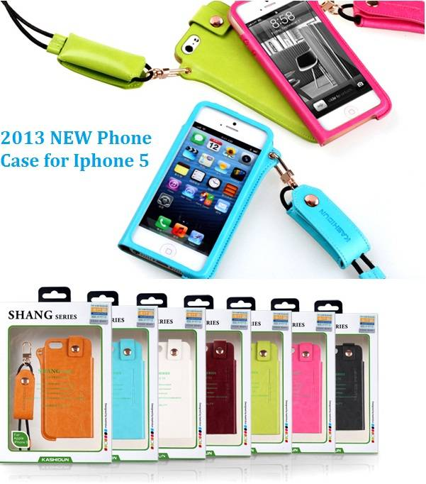 2013 newest i5 phone leather case with cord in fashion design