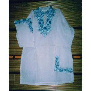 Sell Blue Embroidery on Cotton Fabric Kurtis