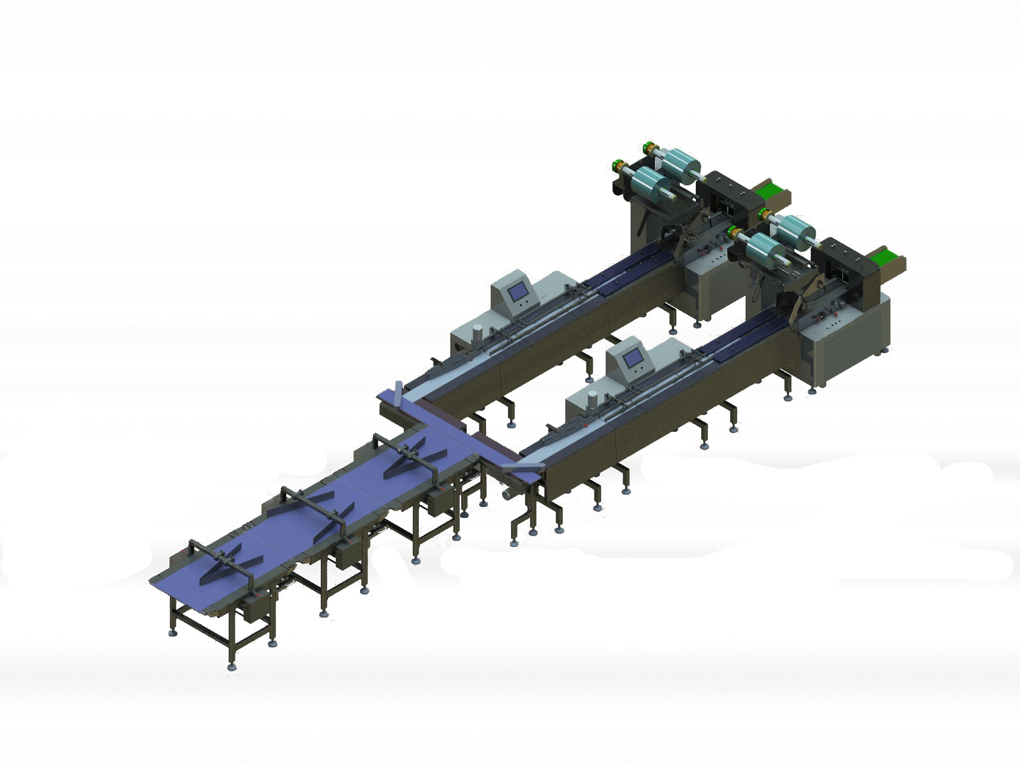 Double lanes packing system