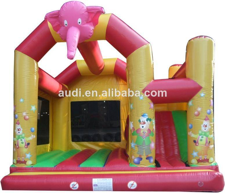 2 in 1 Circus bouncer with slide Inflatable combo