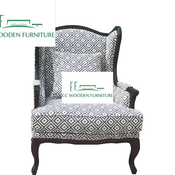 Modern solid wood fabric sofa oak chair reclining sofa