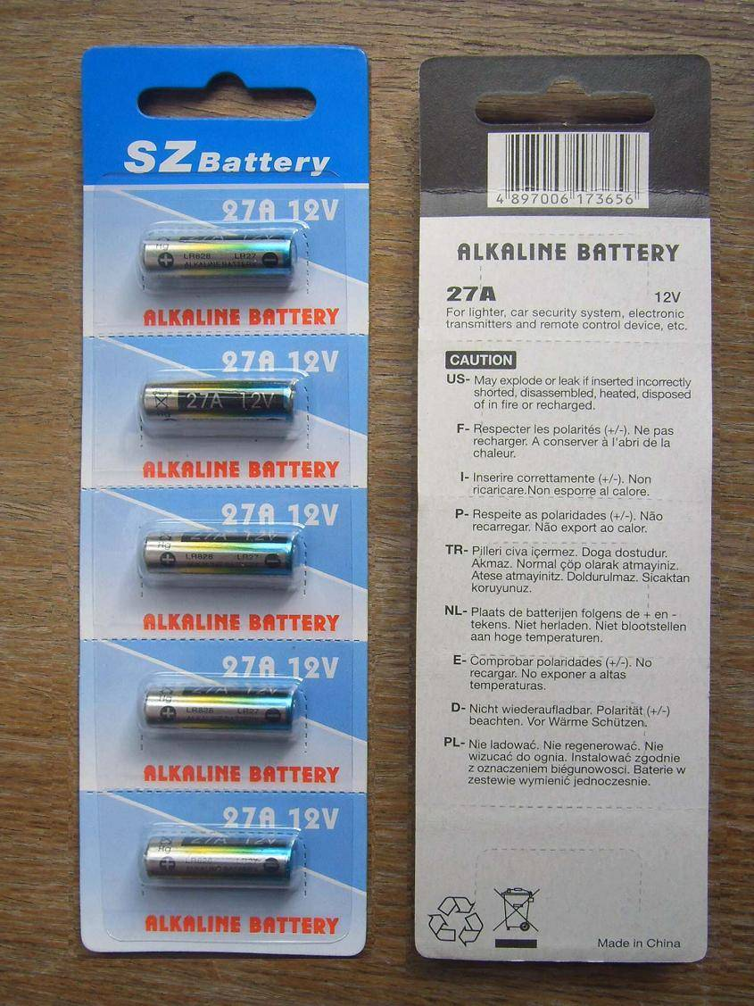 27A 12v Alkaline battery, 5pcs per blister card pack