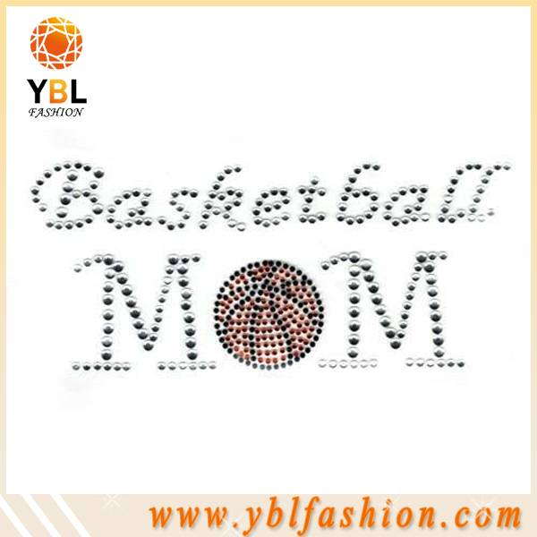Wholesale basketball mom hotfix rhinestone transfer design