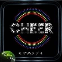 Colored Cheer Rhinestone Hotfix Motif Design