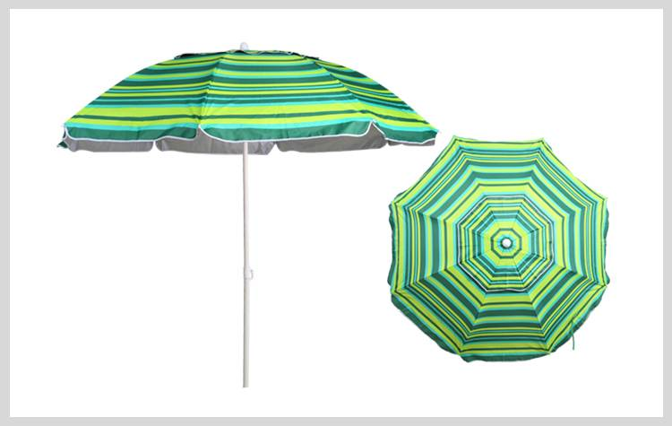 7 ft. Vented Silver Lined Poly Beach Umbrella - Green Strips