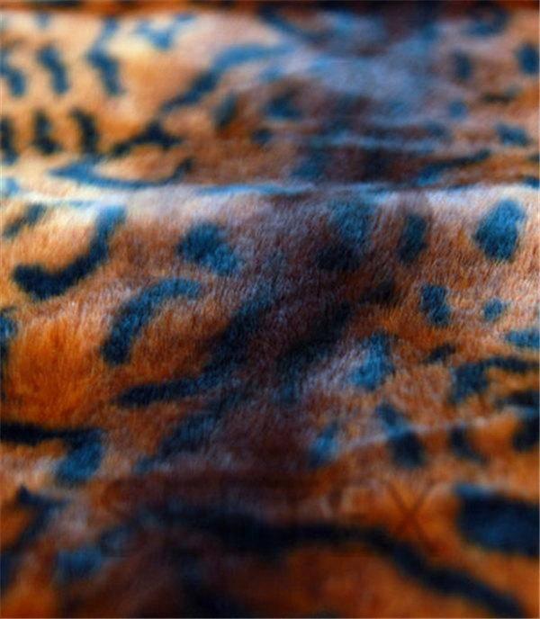 Rex rabbit faux fur with leopard prining