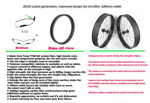 boostbicycle 2015 latest 26inch FAT bike rims 100mm hookless double walls