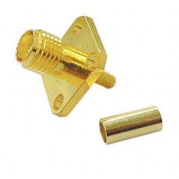 SMA44-316 SMA RF Connector with Crimp Jack, for 4 Holes Panel Receptacle