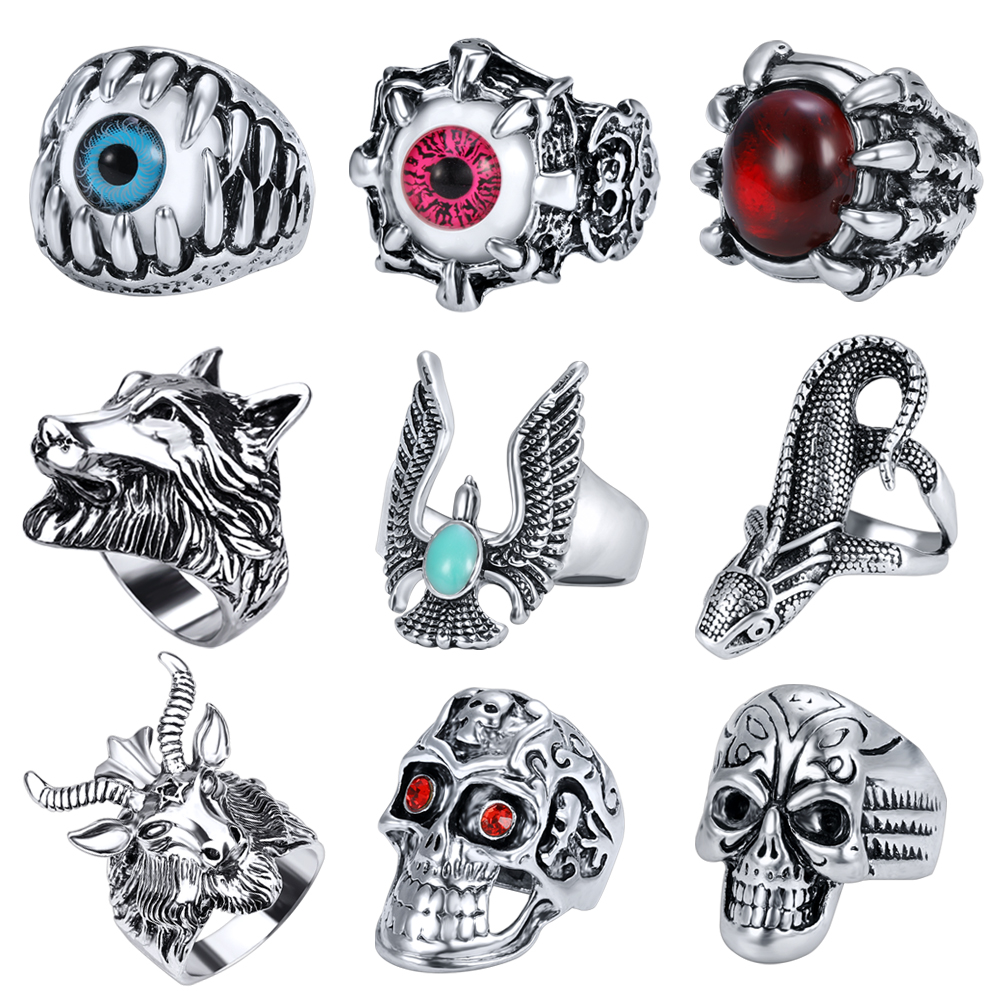 Vintage Stainless Steel Ring Punk Mens Scorpion Pattern Ring For Men Accessories Jewelry