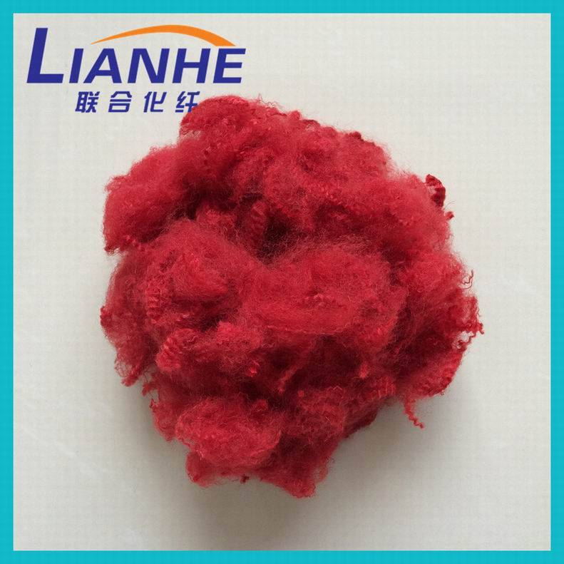 red color recycled 1.5d-15d 38mm-102mm polyester fiber