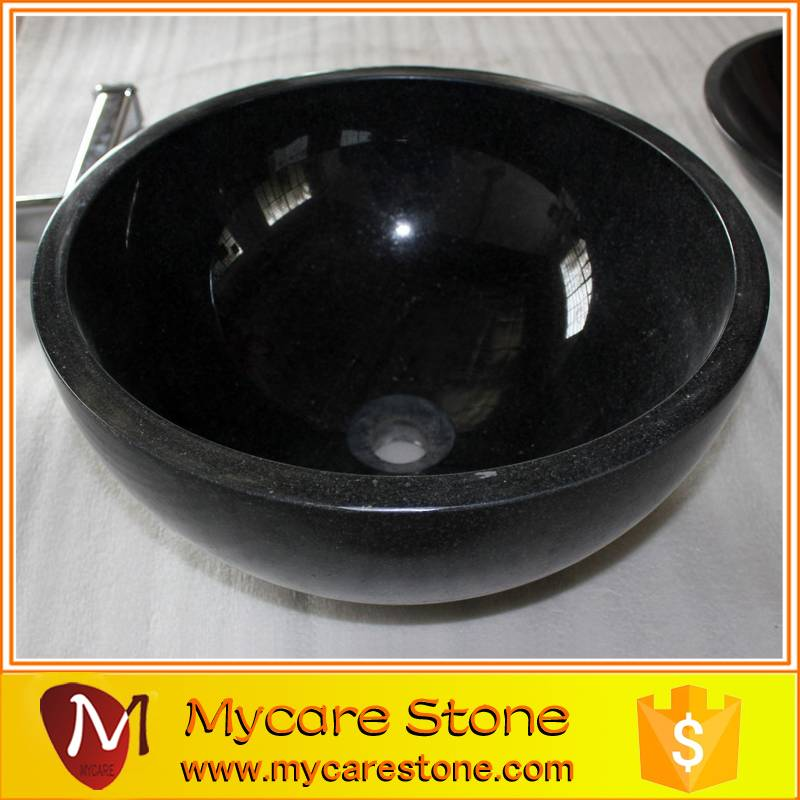 2015 Hot sale fashionable black Granite stone round bathroom basin and sin