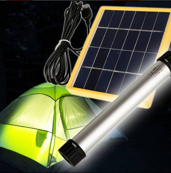 Solar flashlight LED lamp solar panel charging USB charging solar torch for traveling sports outing