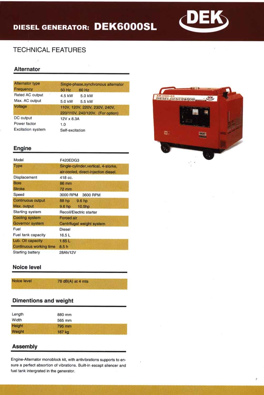diesel/gasoline generator set, engine, pump