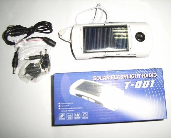 Solar White Light LED Flashlight with FM Radio