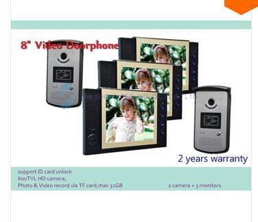 wired 8 TFT color video door phone ,ID cara unlock ,waterproof,IR camera,Night vision 24 Rings
