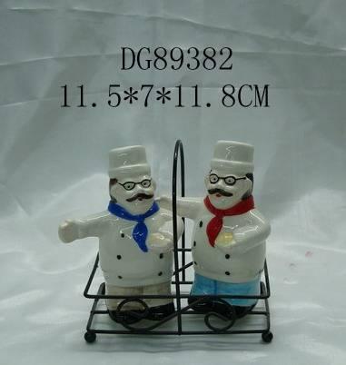 Sell ceramic salt & pepper shaker with metal holder