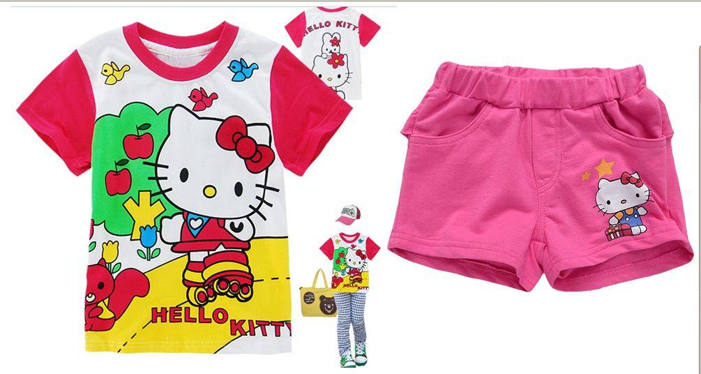 babygop short t-shirt short pants children set kids girl suit