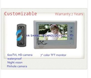 newest 7 inch video door phone, Touch key,waterproof HD camera, Pinhole camera,nigh vision,24 kinds