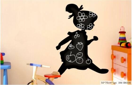Cute Little Girl Printed Home Decorative Wall PP Blackboard/Chalkboard Sticker