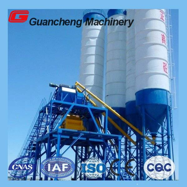 HZS75 concrete cement mixing plant with 75m3/h capacity