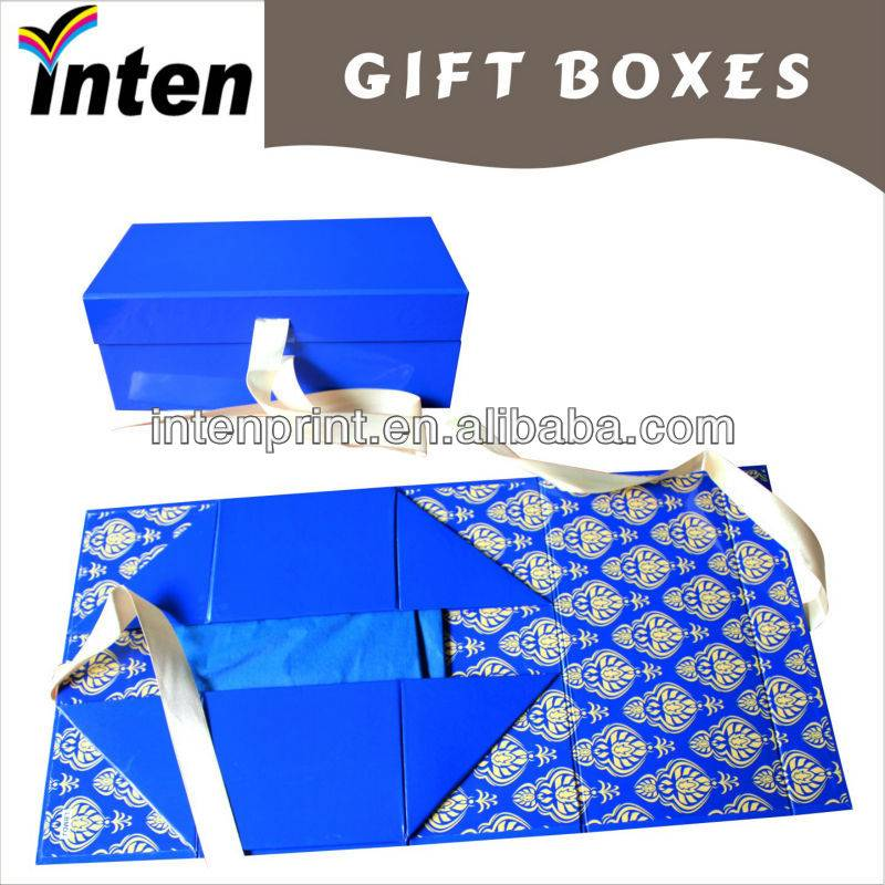 rigid folding paper shoe box with ribbon