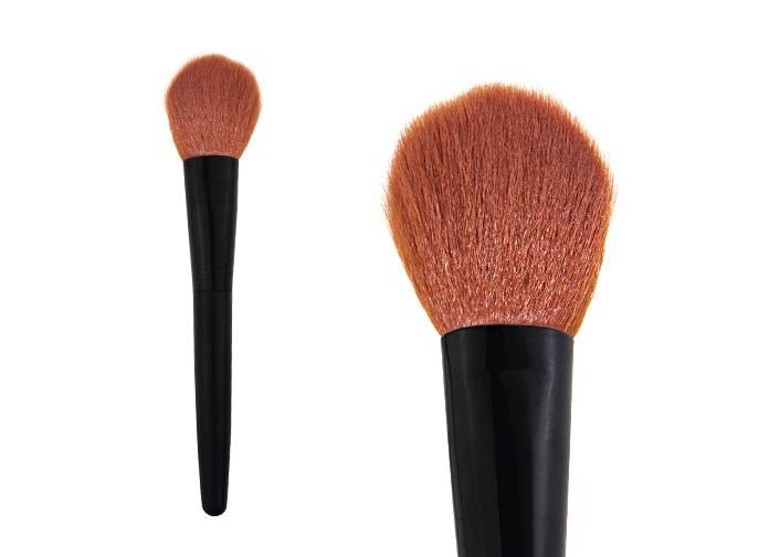 Bright Brown Nylon Hair Contour Blush Brush Black Metal Ferrule Plastic Handle Brush