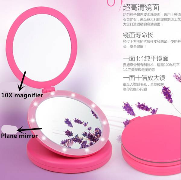 Double-sided makeup mirror with a 5X magnifying to make makeup easily