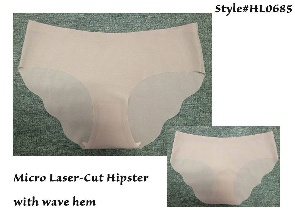 Hot Sale Micro Laser-Cut Hipster with Cleaning Wave Hem, Micro Sexy Panty with Cotton Crotch Linning