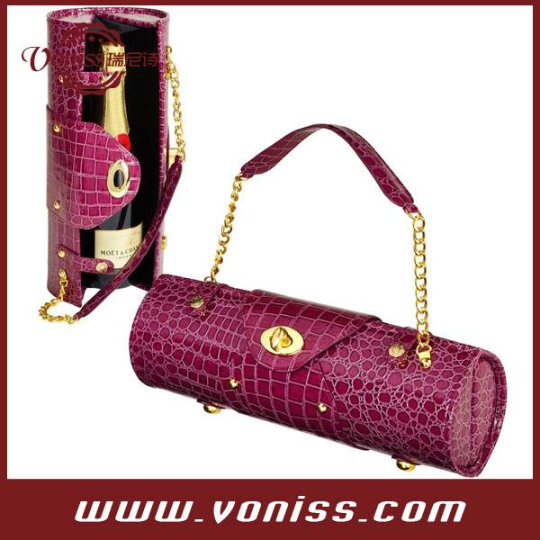 Wine Carrier and Purse, Champagne leather carrier box, Padded Lined Interior - Insulated
