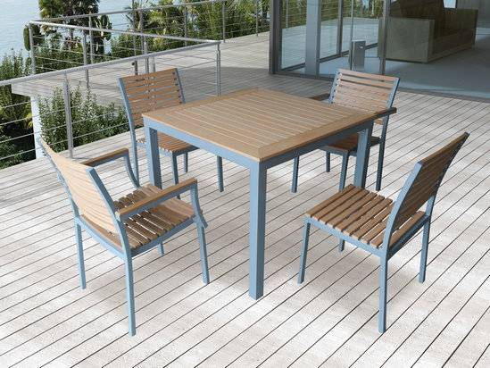 Garden furniture dining outdoor plastic wood chair and table set ST010